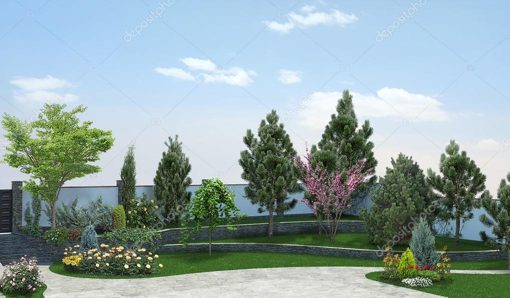 Front Yard Horticultural Background, 3d Render U2014 Stock Photo