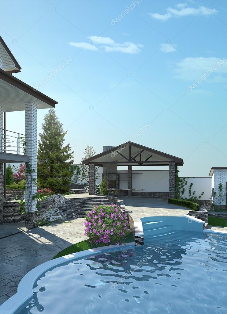 Patio living space arrangement, 3d render