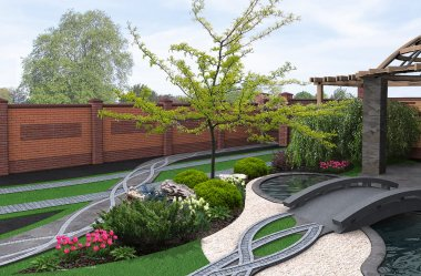 Japanese inspired garden, 3d render