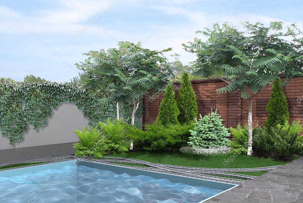A bordo piscina lato cortile rendering 3d foto stock threedicube 113924344 - Piante per bordo piscina ...