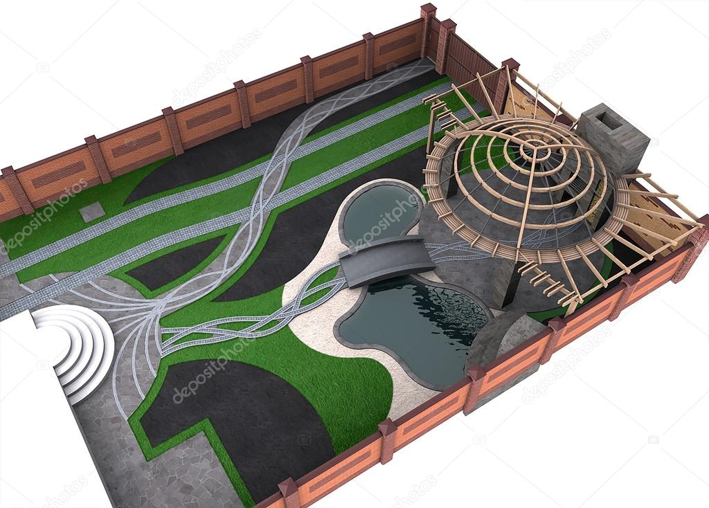 Entertaining backyard arrangement, 3d render