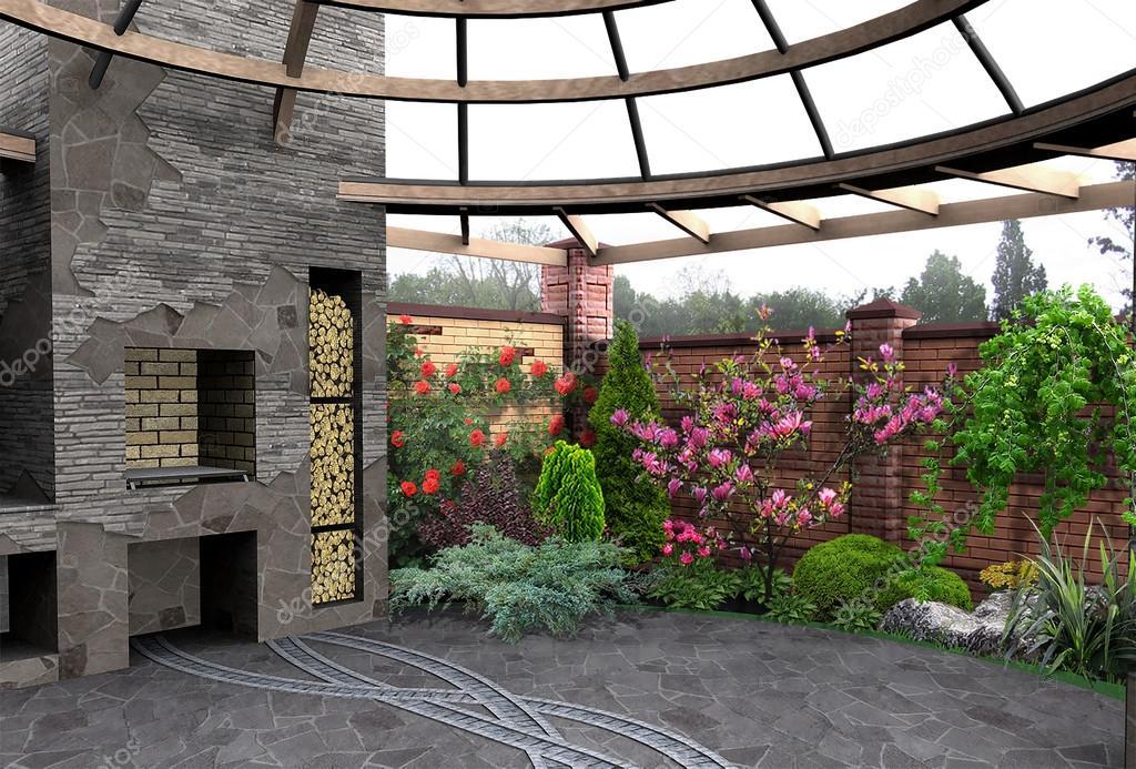 Outdoor seating area, 3d rendering