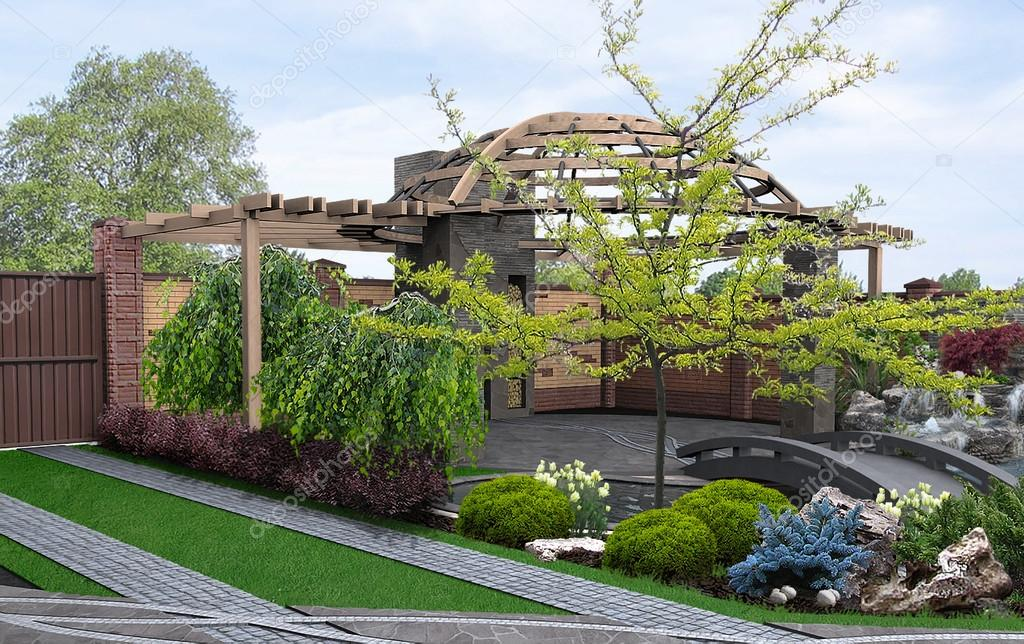 Front and backyard designs, 3d render