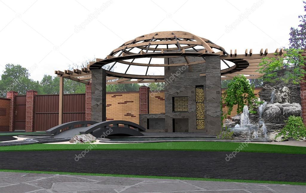Patio architectural highlight, 3d render