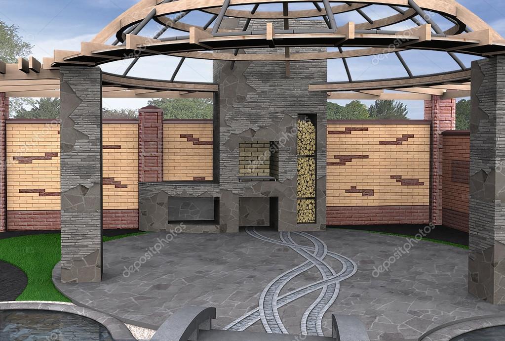 Gazebo inviting interior, 3d render
