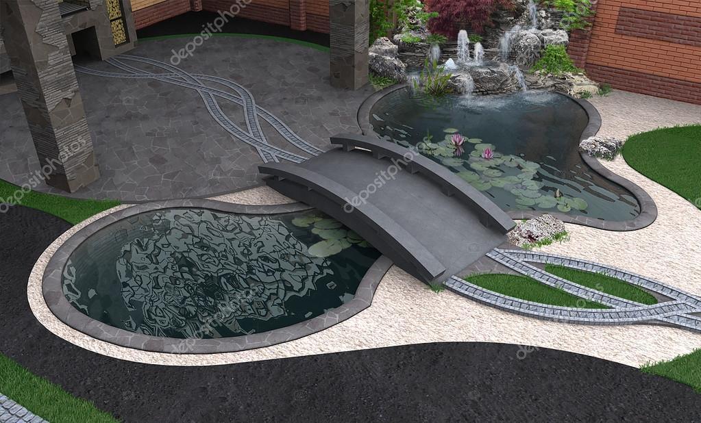 Water garden aerial view, 3d rendering