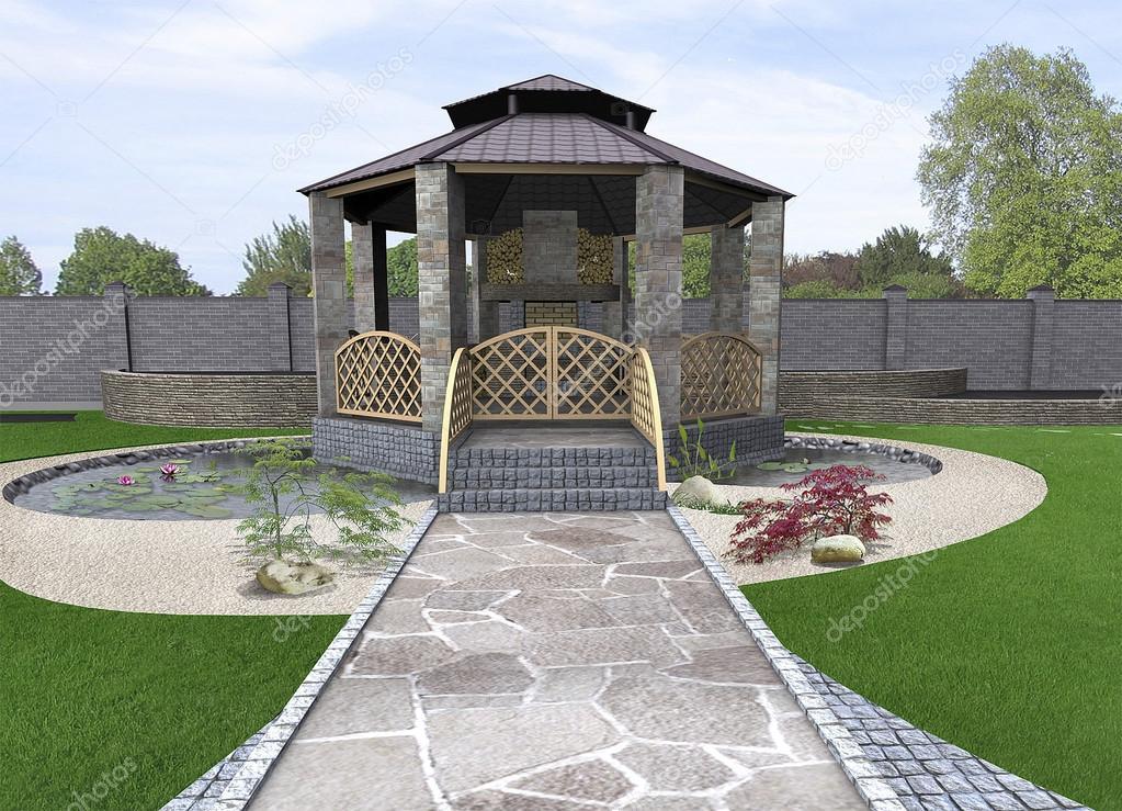 Koi pond and gazebo exterior, 3d rendering