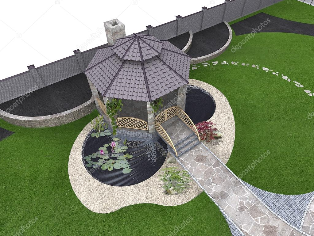 Koi pond and gazebo aerial, 3d rendering