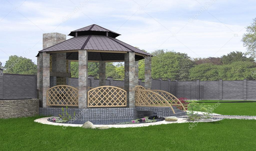 Koi pond and gazebo exterior, 3d rendering