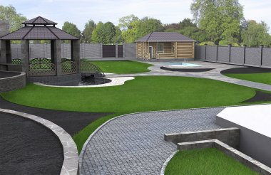 Wide angle panoramic view of the yard, 3d render