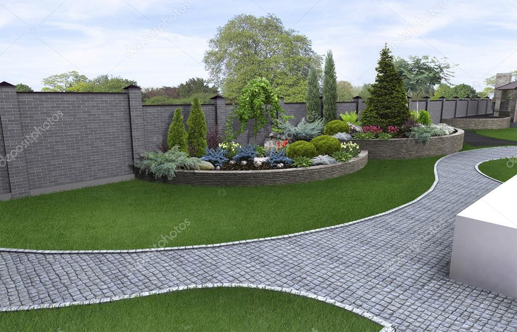 Front yard horticultural background, 3d render