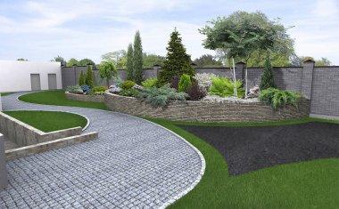 Front yard horticultural background, 3d render