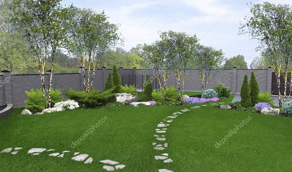 Backyard horticultural background, 3d render