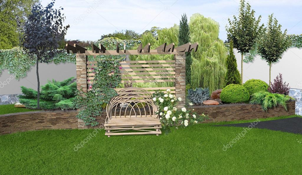 Place for get togethers in the garden, 3d rendering
