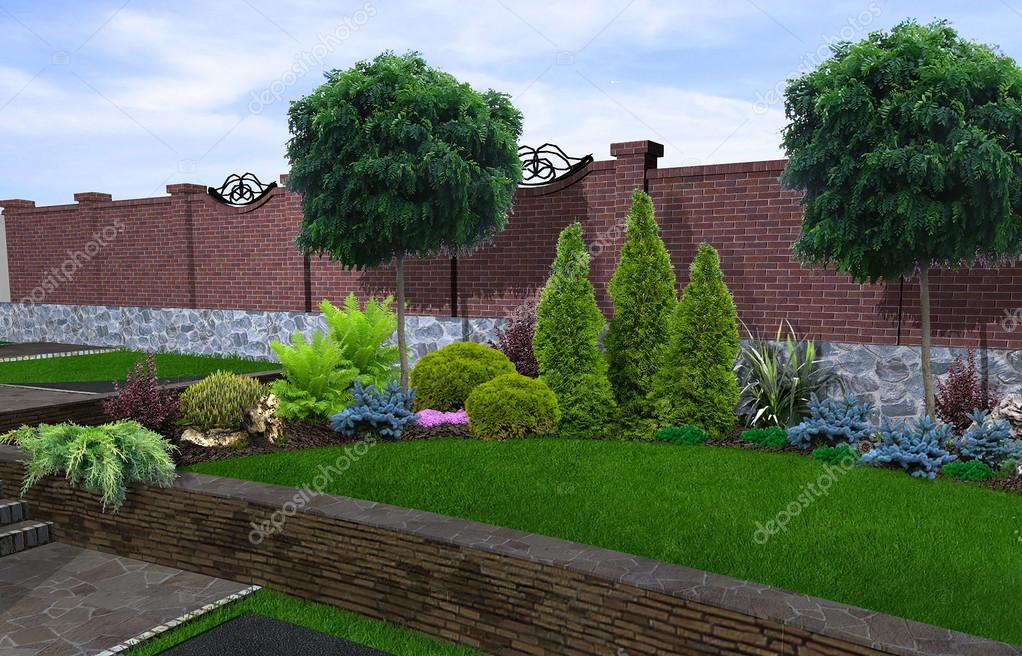 Patio horticultural background, 3d rendering