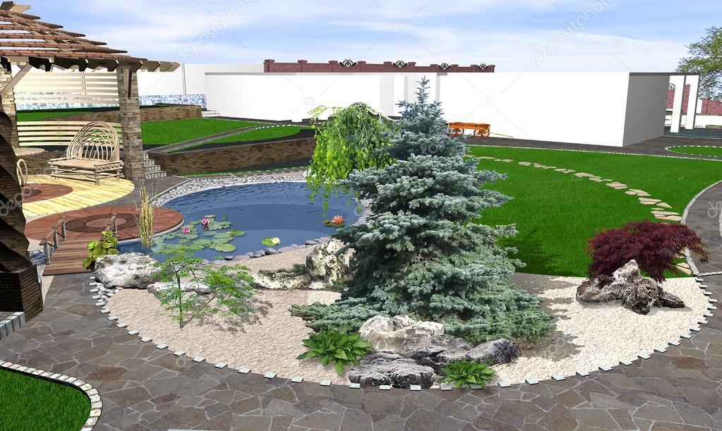 Anordnung Terrasse Wohnfläche. Dreidimensionale Visualisierung Der  Garten Landschaftsgestaltung U2014 Foto Von ...