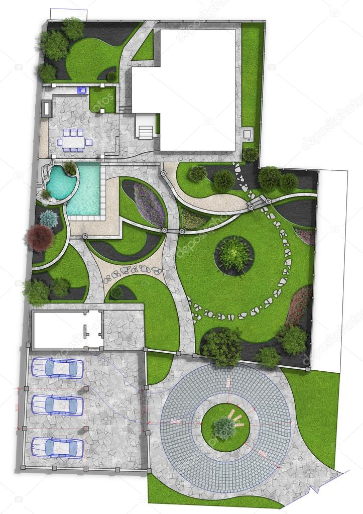 Landscaping master plan, 2d illustration