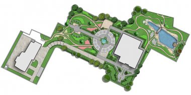 Master plan of residence, cut out 2d rendering