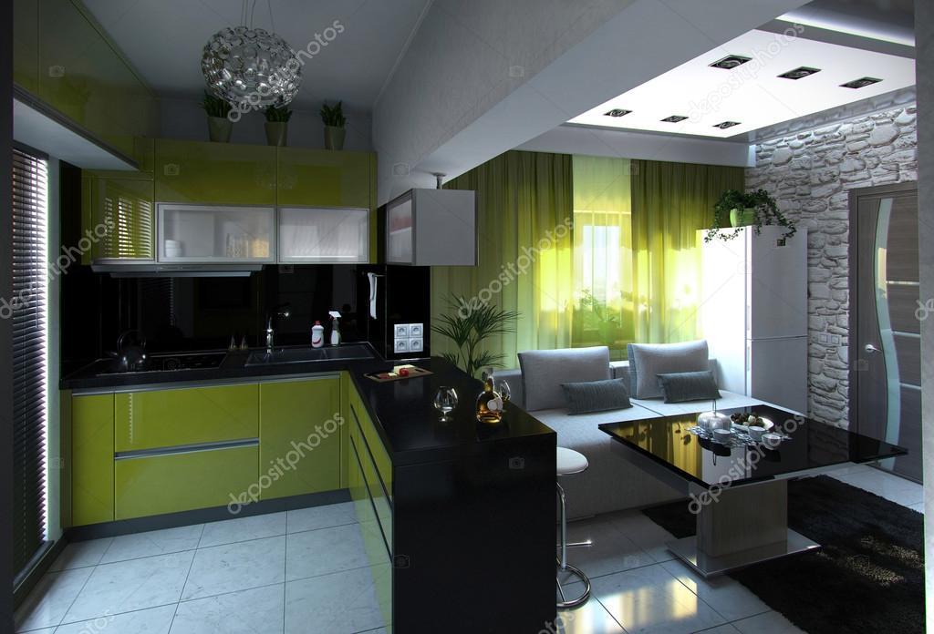 Open concept keuken en woonkamer d render u stockfoto