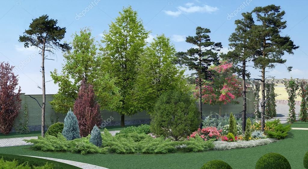 Courtyard Landscaping Scenery Style, 3D Rendering
