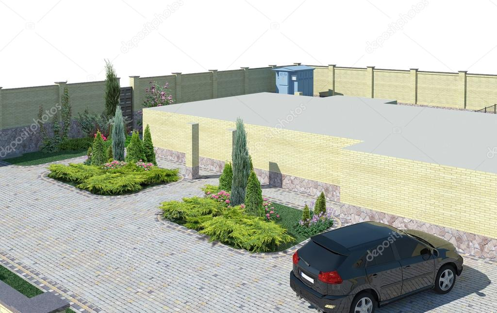 Landscaping plant groupings high angle view, 3D render
