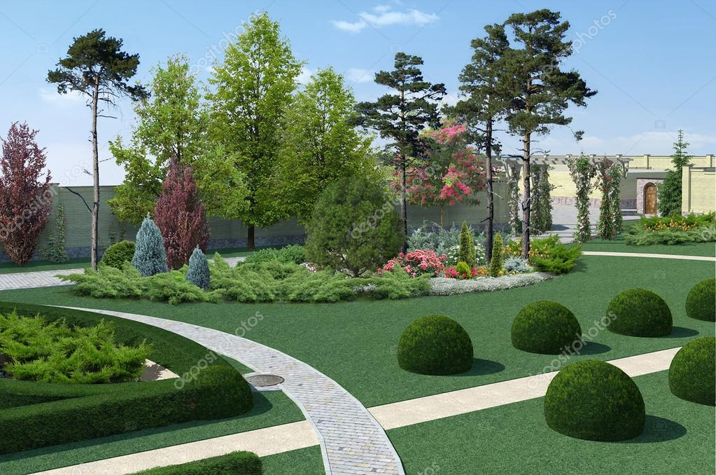 Landscaping classic style plant groupings, 3D render