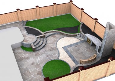 Landscaping backyard isometric view, 3D render