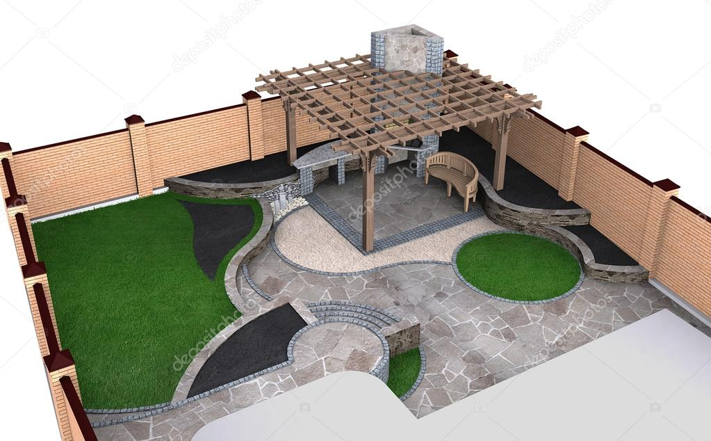 Landscaping backyard perspective aerial view, 3D render isolated over white background