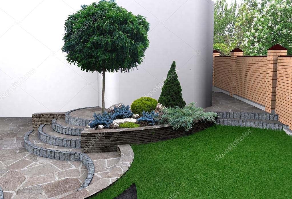 Landscaping garden stairs and plant groupings, 3D render