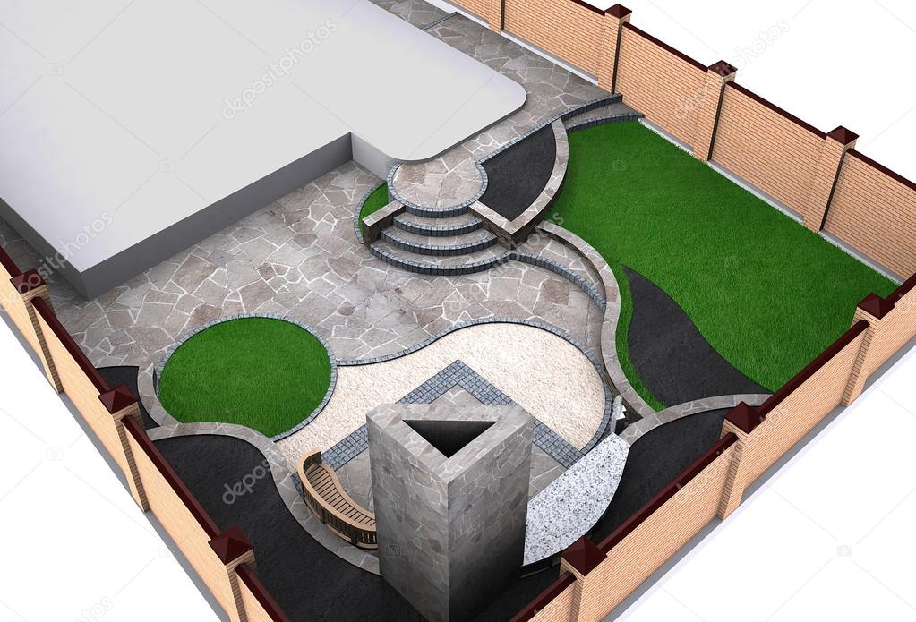 Landscaping backyard high angle view, 3D render
