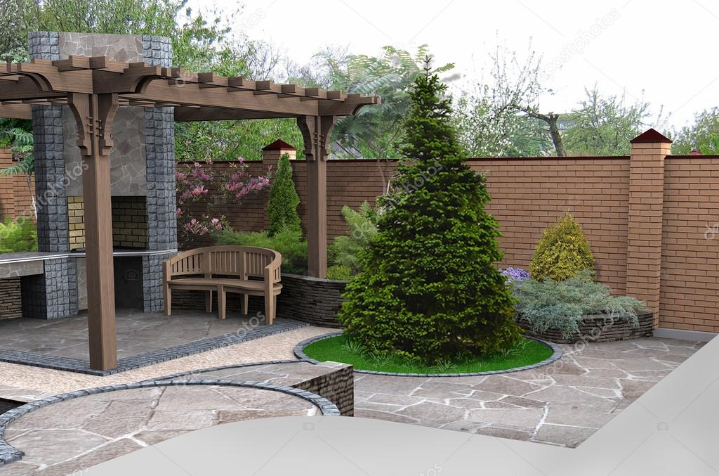 View of the entertainment space in the garden, 3D render