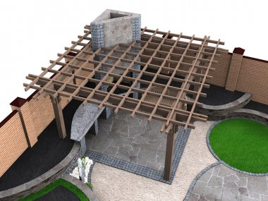 Landscaping pergola high angle view, 3D render