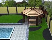 Landscaping arbor and poolside aerial view, 3D render