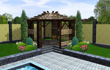 Landscaping gazebo with barbecue, 3D render