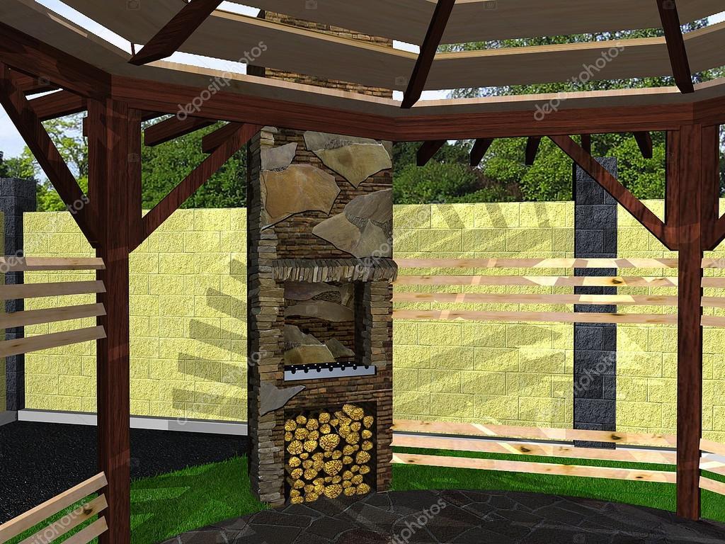 Open Haard Tuin : Modelleren van de open haard in de tuin d renderen u stockfoto