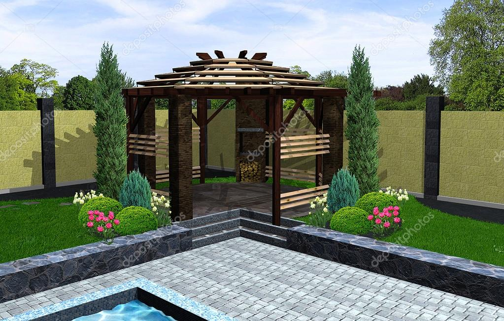 am nagement de kiosque de jardin avec barbecue rendu 3d photographie threedicube 81159256. Black Bedroom Furniture Sets. Home Design Ideas