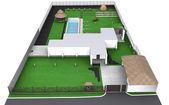 Fotografie Landschaftsgestaltung im Landhausstil Vorgarten Luftaufnahme, 3D-Render