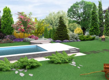Landscaping country style garden plant groupings, 3D render