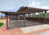 Landscape design patio hardscapes, 3D render
