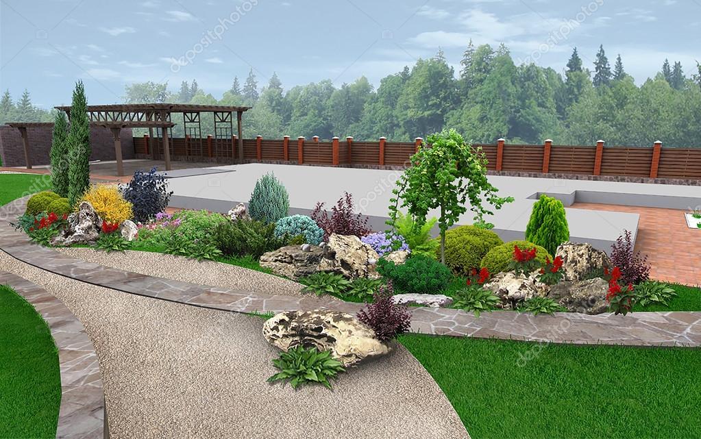 Amenagement Paysager Exemple De Jardin Decoration Rendu 3d