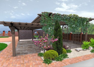 Landscaping  patio green design features, 3D Render