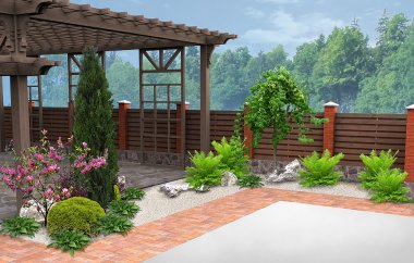 Example of patio decorating and grouping plants, 3D Render