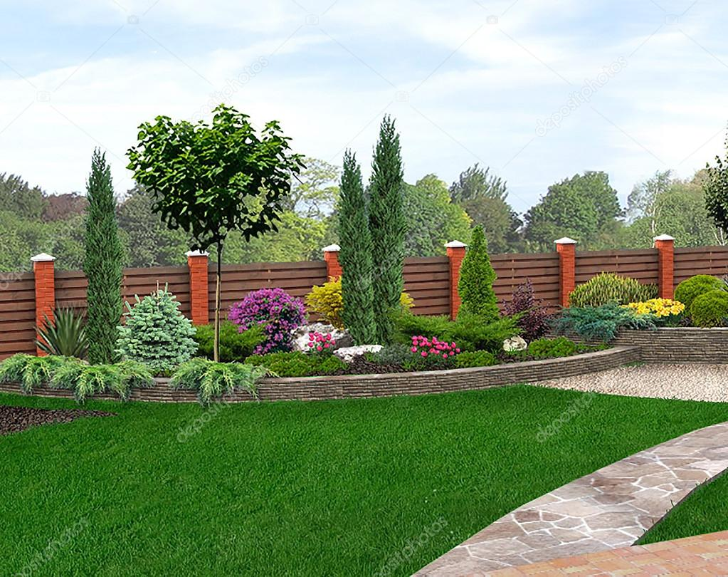 Landscape design garden bed 3d render stock photo for 3d garden designs