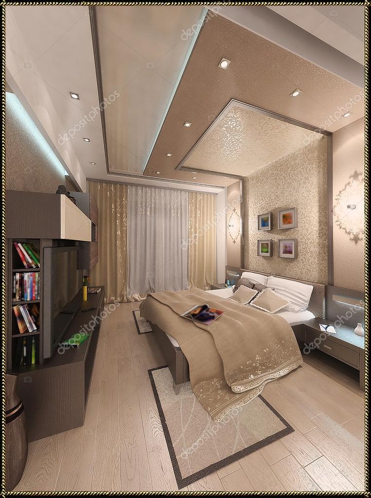 Zeitgenössischen Stil Schlafzimmer Ideen. Dreidimensionale Abbildung U2014 Foto  Von ThreeDiCube