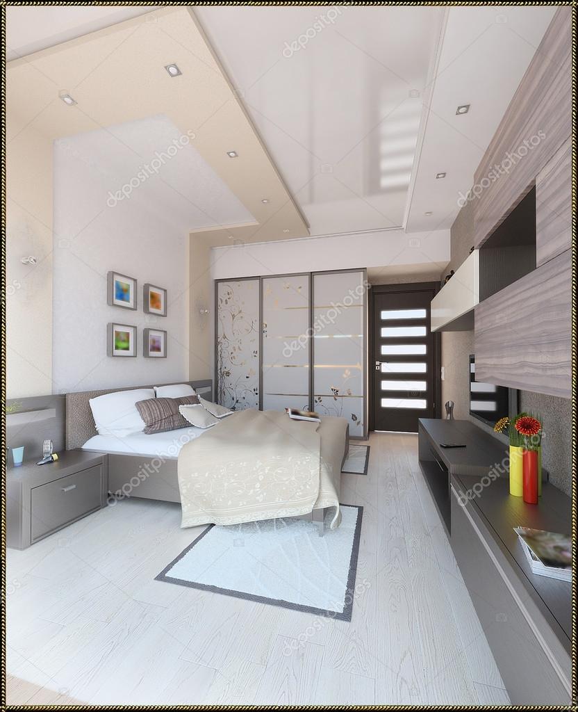 Schlafzimmer-moderner Stil-Innenausbau, 3d render — Stockfoto ...