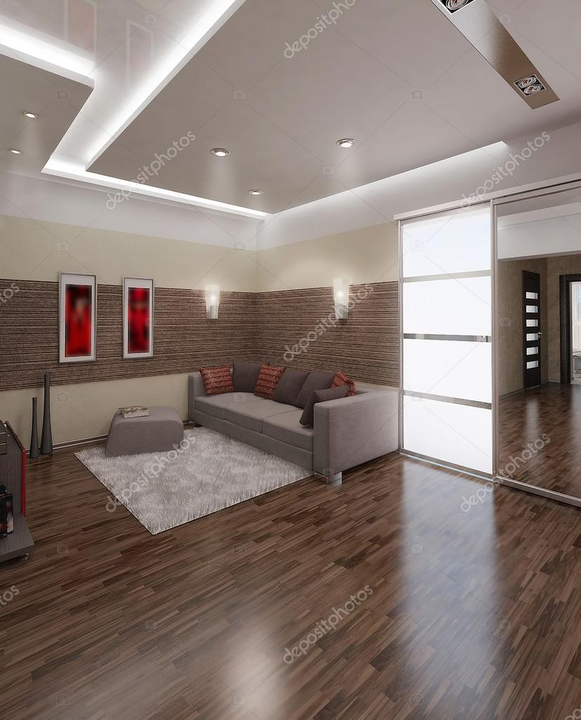 Halle-moderner Stil-Innenausbau, 3d render — Stockfoto © ThreeDiCube ...