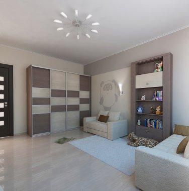Children room minimalist style interior design, 3D render