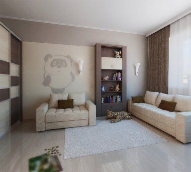 Children room minimalist style interior design, 3D render