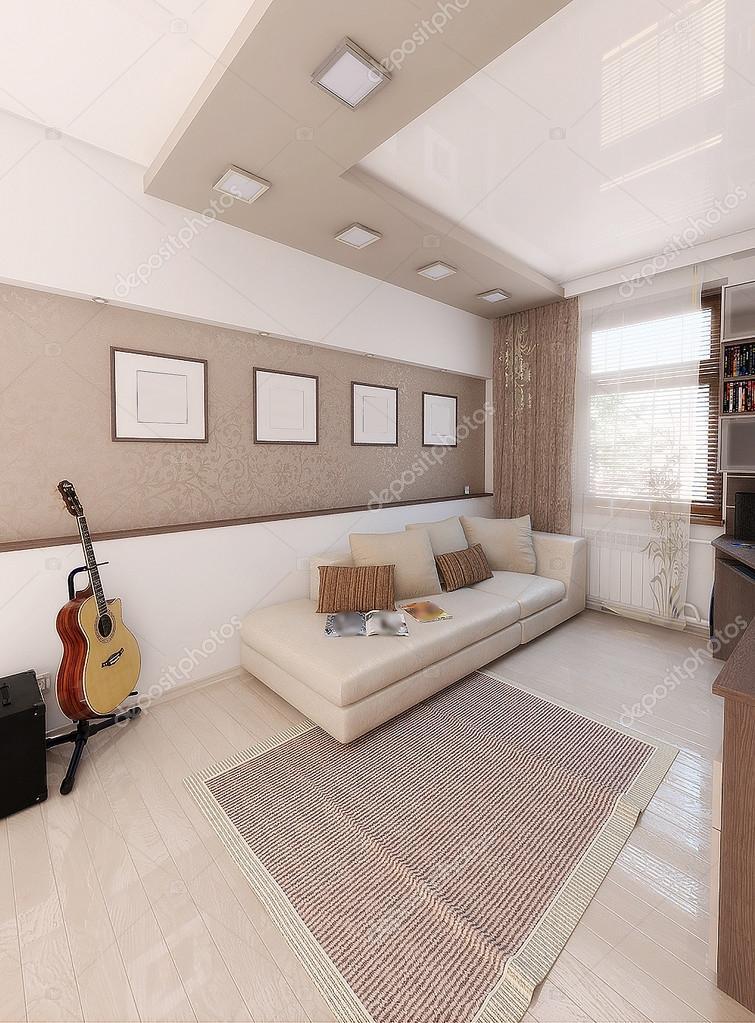 Minimalistische Innenarchitektur Ideen. Drei Dimensionale Darstellung Der  Schlafzimmer Projekt U2014 Foto Von ThreeDiCube