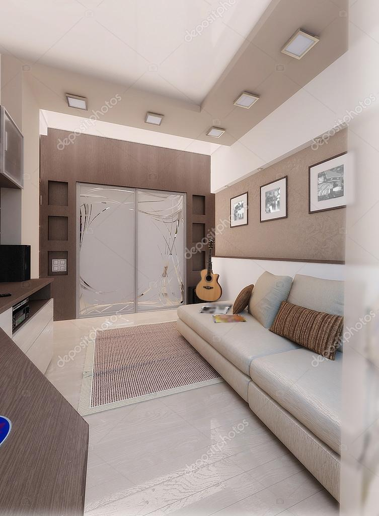 Young man bedroom, interior design, render 3D — Stock Photo ...